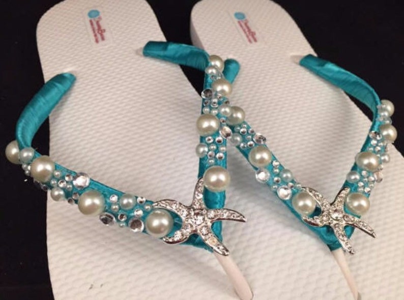 Shoshanna Wedding Sandals Custom Dancing Shoes for Destination Beach Wedding Your Choice Starfish Bridal Flip Flops Nautical Flip Flops