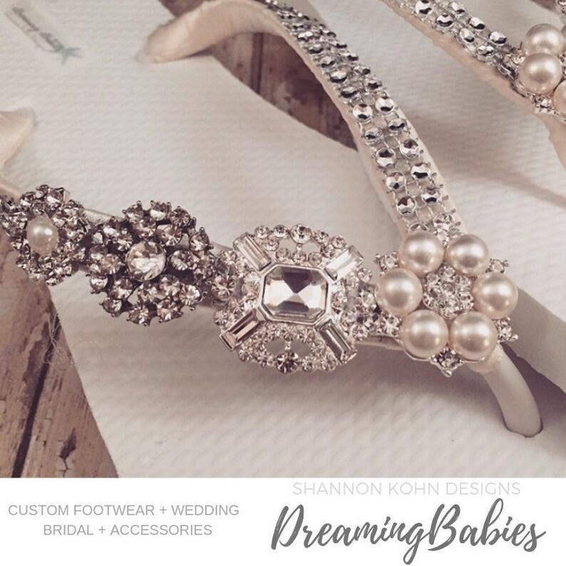 58ccb5bd475f Jordan Rhinestone Bridal Flip Flops Custom Crystal Bling