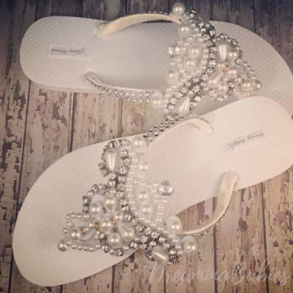 Pearl Rhinestone Bridal Flip Flops, Custom Amelia Bling Rhinestone Bridal Sandals for Beach Destination Wedding Custom Color Your Choice