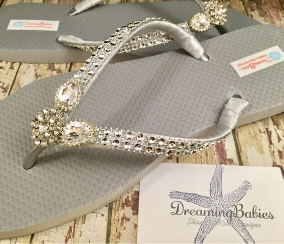 acd1e1b2e686 Silver Rhinestone Bridal Flip Flops Bling Wedding Sandals for