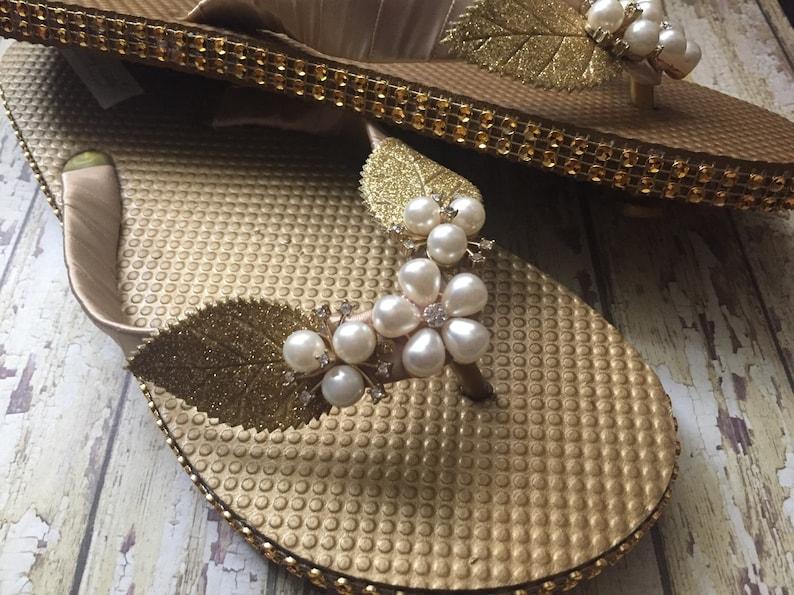 9a07db0ad93568 Gold Bridal Flip Flops Golden Pearl Wedding Sandals for