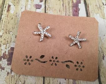 Gold Rhinestone Starfish Earrings Beach Wedding Earrings Bridal Crystal Starfish Earrings Nautical Rhinestone Earrings Gold Bride Earrings