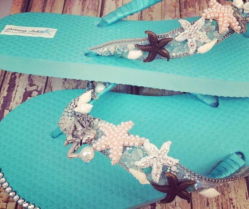 2e477b47a3971a Aqua Mermaid Bridal Flip Flops Custom Beach Sandals for