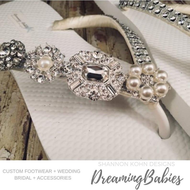 b60200beb1fc Jordan Rhinestone Bridal Flip Flops Custom Crystal Bling