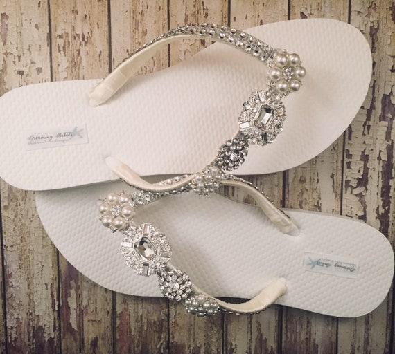 22b4580e80698 Jordan Bridal Flip Flops Custom Flip Flops Rhinestone
