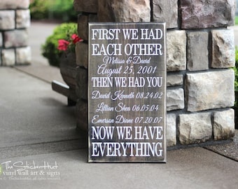 First We Had Each Other Then We Had You Now We Have Everything - With Custom Names & Dates - Family Wood Sign - Distressed Wooden Sign S94