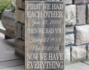 First We Had Each Other Then We Had You Now We Have Everything - With Custom Names & Dates - Wood Sign - Distressed Wooden Sign S94