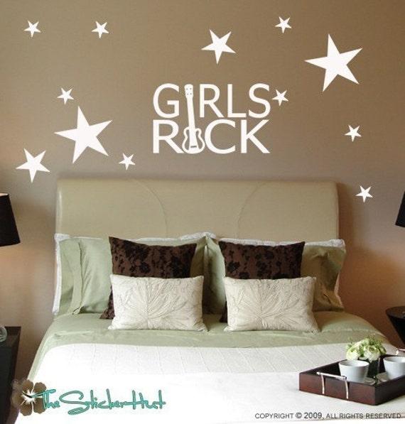 girls rock guitar star girls bedroom wall decor wall   etsy