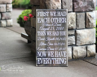 First We Had Each Other Then We Had You Now We Have Everything - With Custom Names & Dates - Christmas Gift - Distressed Wooden Sign S94