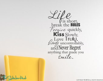 Life is Short Break The Rules - Vinyl Lettering - Vinyl Wall Art - Home Decor Decals - Quote Saying Wall Graphic Decal Sticker 1344