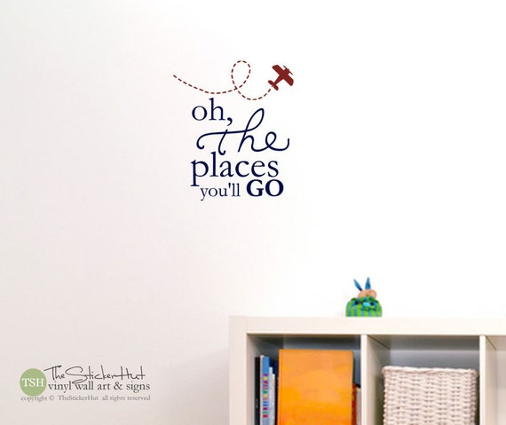 Oh The Places You Ll Go With Airplane Typography Word Art Vinyl Sticker Inspirational Quote Wall Decals Stickers Decals 1670