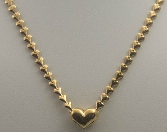 Avon Gold Tone Endless Heart Chain Necklace - Never Ending Heart Necklace - Vintage 80's Avon Endless Heart Necklace - Valentine Day Gift
