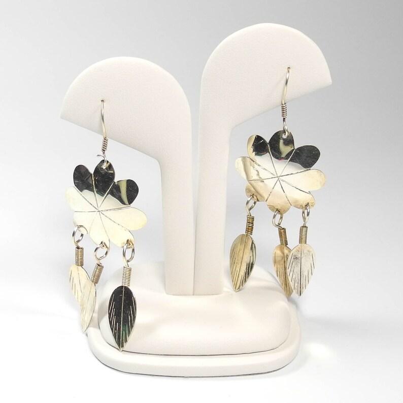 852103247 Silver Earrings Alpaca Mexico Earrings Flower Feather Dangle | Etsy