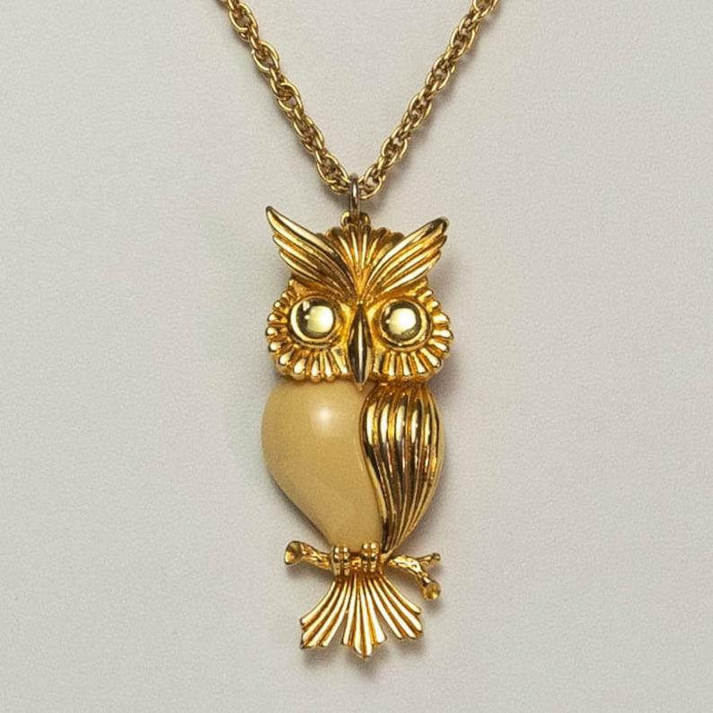 Vintage Owl Green Eye Photo Cabochon Glass Bronze Chain Pendant  Necklace