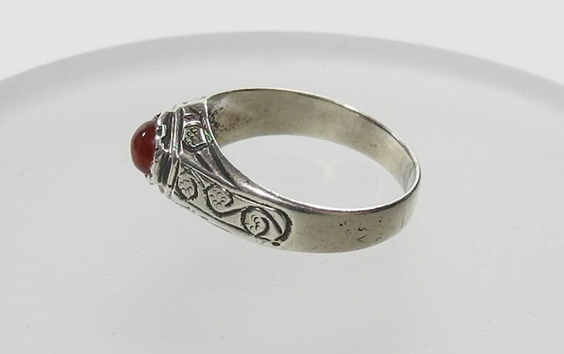 Vintage Sterling Silver Carnelian Orange Stone Ring 925 Orange Stone Ring Size 8 12