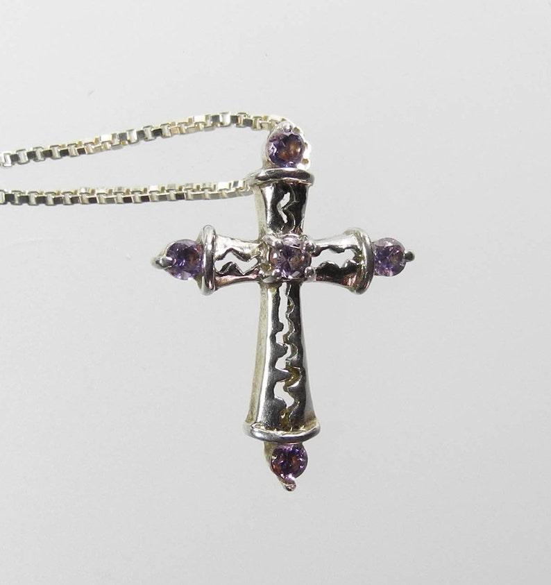 """Sterling Silver Two Tone Crucifix Cross Pendant 18/"""" Italian Box Chain"""