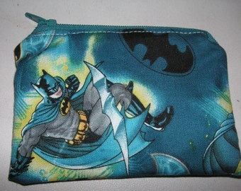 Batman bat comic marvel dc handmade fabric coin change purse zipper pouch