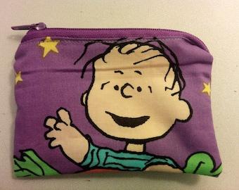 Peanuts Linus cartoon handmade zipper fabric coin change purse card holder