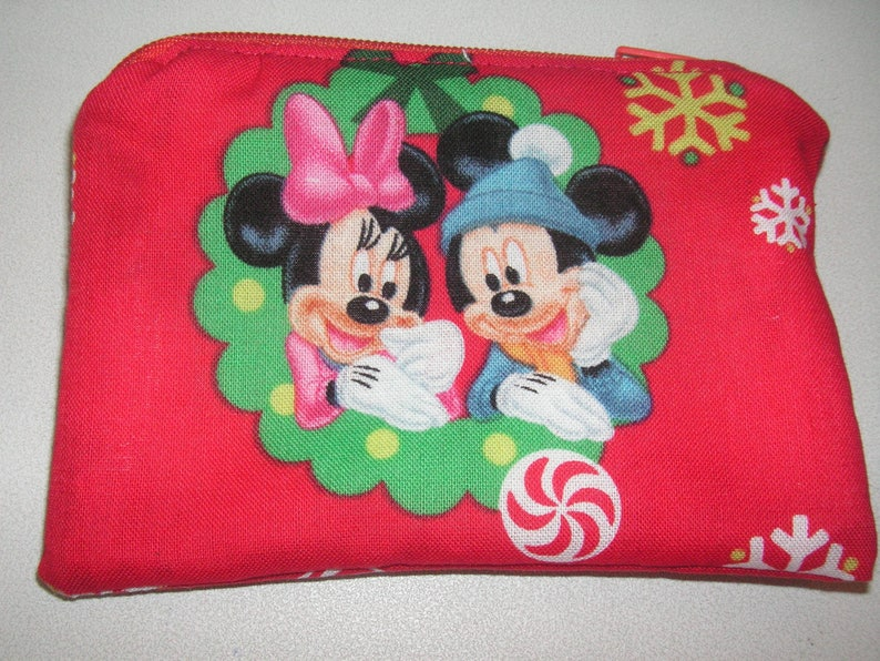 Mickey Minnie Mouse handmade zipper fabric coin change purse card holder