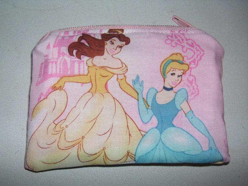 Princess Beauty Belle Cinderella handmade zipper fabric coin change purse card holder