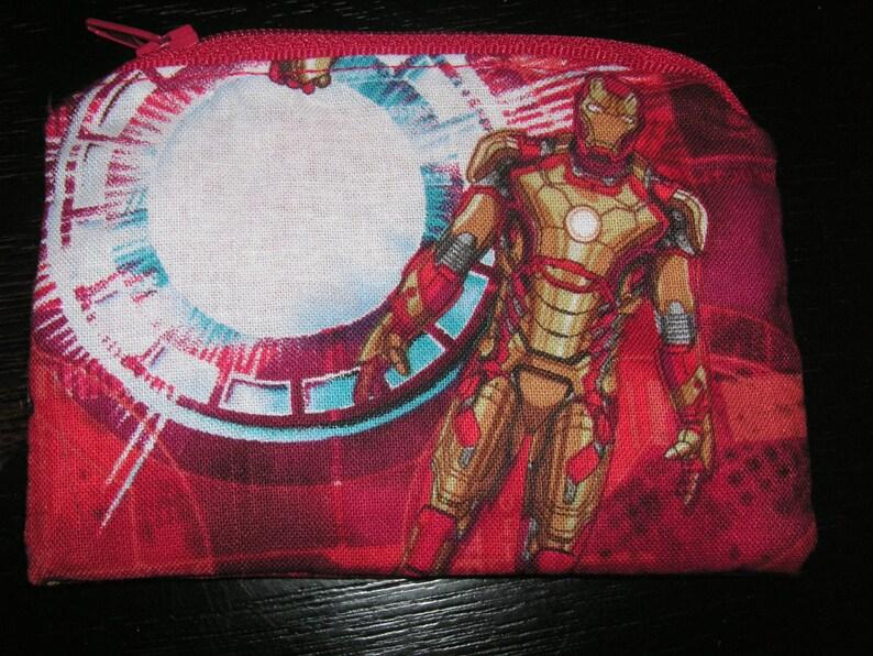 Iron man Ironman marvel comic handmade fabric coin change purse zipper pouch
