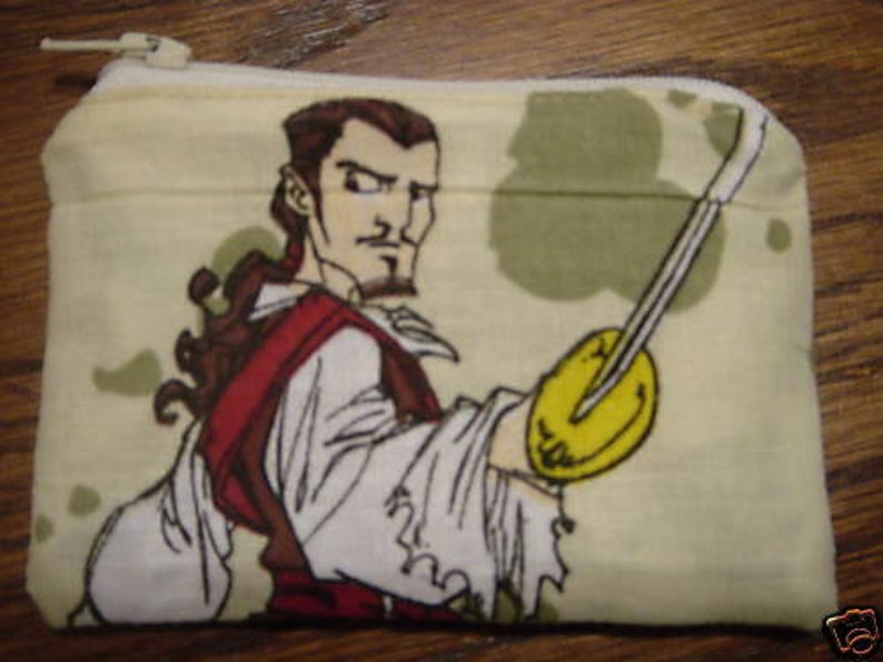 Pirates of Caribbean Davy handmade zipper fabric coin change purse card holder