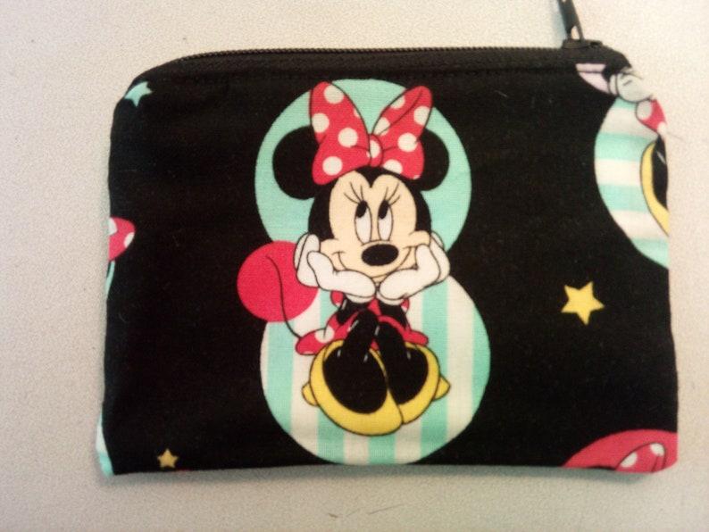 Minnie Mouse handmade zipper fabric coin change purse card holder