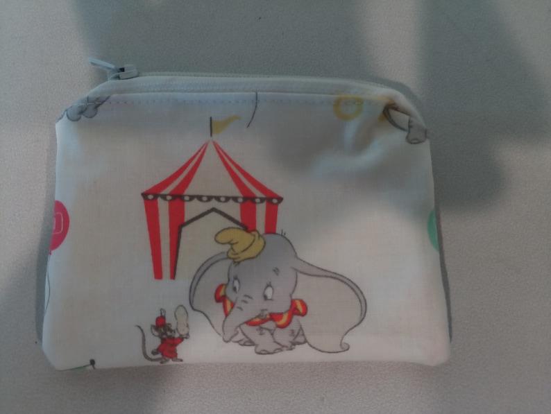 Dumbo Elephant circus cartoon handmade fabric coin change purse card holder