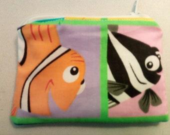 Finding Nemo fish cartoon handmade zipper fabric coin change purse card holder