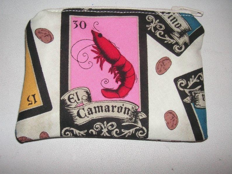 Loteria bingo Spanish handmade zipper fabric coin change purse card holder