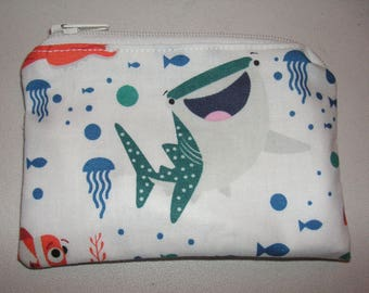 Finding Nemo fish handmade zipper fabric coin change purse card holder