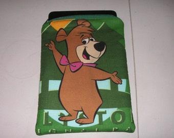 "Yogi Bear Boo Boo kids cartoon tv handmade zipper fabric 7"" mini ipad Galaxy Kindle Fire Nexus case sleeve cover pouch tablet"