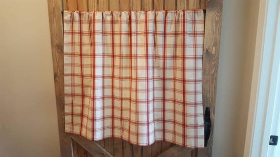 Red Plaid Kitchen Cafe Curtains/ Country Curtains/ Kitchen Valance- 2  panels/ 1 pair- Matching valance available -Waverly Pantry Plaid