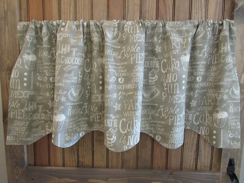 Pie Kitchen Scalloped Lined Valance Neutral Valance Scalloped and Lined Curtain Waverly Easy as Pie Almond Fabric
