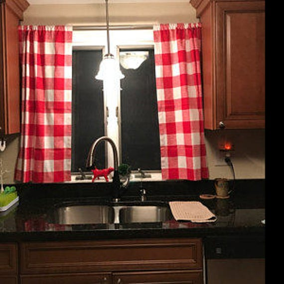 Red Gingham Buffalo Check Kitchen Cafe Curtains 2 Panels 1 Pair Custom Sizes And Matching Valance Available
