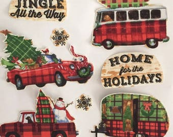 Christmas Holiday camper set - Iron On Fabric Appliques