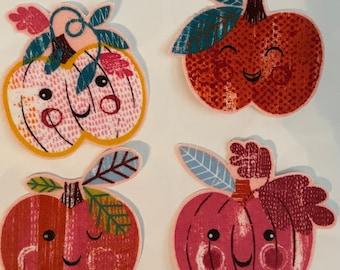 Set of 8 Happy Pumpkins Pumpkins - Iron On Fabric Appliqués