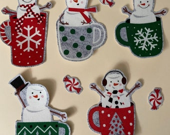 Hot Cocoa Cups w/ Marshmallow Snowmen - Iron On Fabric Appliques - Christmas