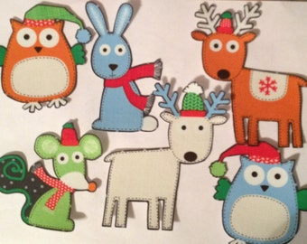 Christmas Forest Animals - Iron On Fabric Appliques