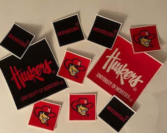 Nebraska Corn Huskers - Iron On Fabric Appliques - 10 Sports Patches