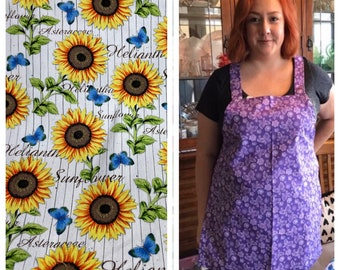 Beautiful Sunflowers and Butterflies Apron - Sally's Simple Aprons - Handmade (Heavier Weight, Soft Cotton Duck)
