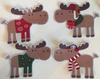 5 Christmas Moose - Iron On Fabric Appliques