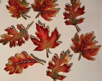 New! Sparkling Fall Leaves - Iron On Fabric Appliques