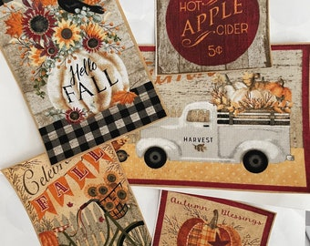 5 Large Fall Holiday Patches - Iron On Fabric Appliques (Assorted sets)