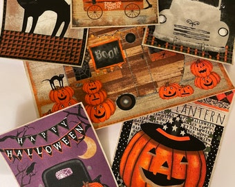 5 Large Spooky Night Patches - Iron On Fabric Appliques - Halloween - (Assorted sets)