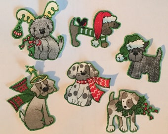 Little Christmas Puppy Dogs - Iron On Fabric Appliques