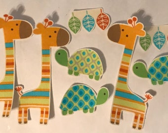 Pastel Giraffes and Turtles - Iron On Fabric Appliques -Baby