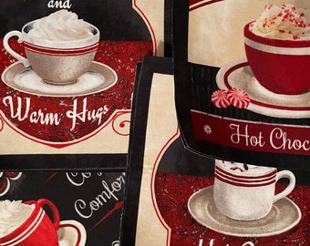 Set of 2 Extra Large Hot Cocoa Patches - Iron On Fabric Appliqués