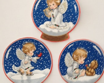 Angel Baby Snow Globes - Iron On Fabric Appliques - Christmas