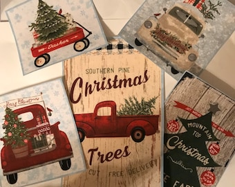 5 Large Christmas Holiday Patches - Iron On Fabric Appliques (Assorted sets)